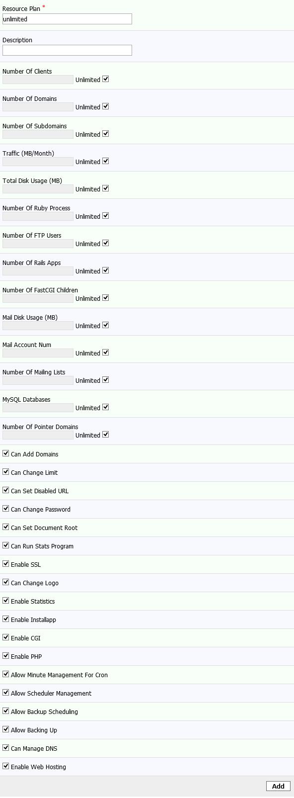 Kloxo-MR Hosting Limits