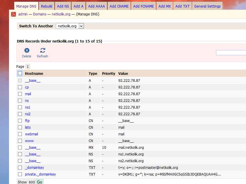 Kloxo-MR DNS Settings