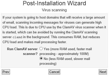 Virtualmin ClamAV