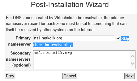 Virtualmin Nameserver