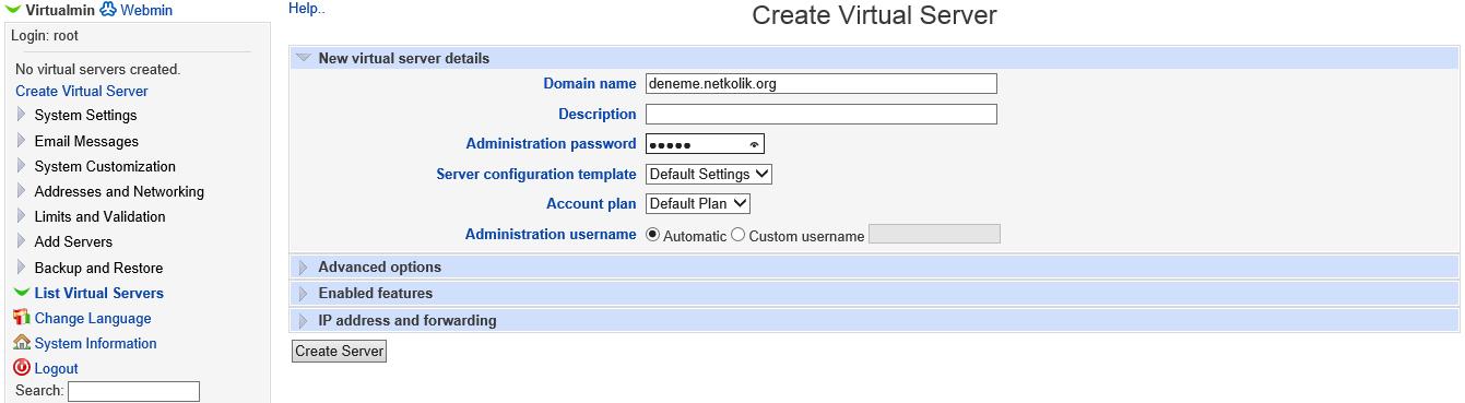 Virtualmin Create Virtual Server