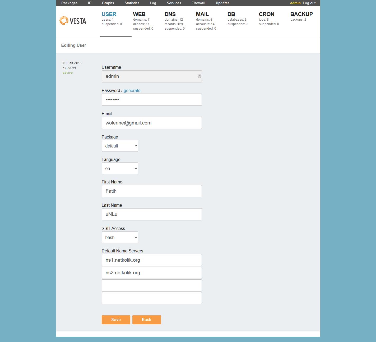 VestaCP Admin