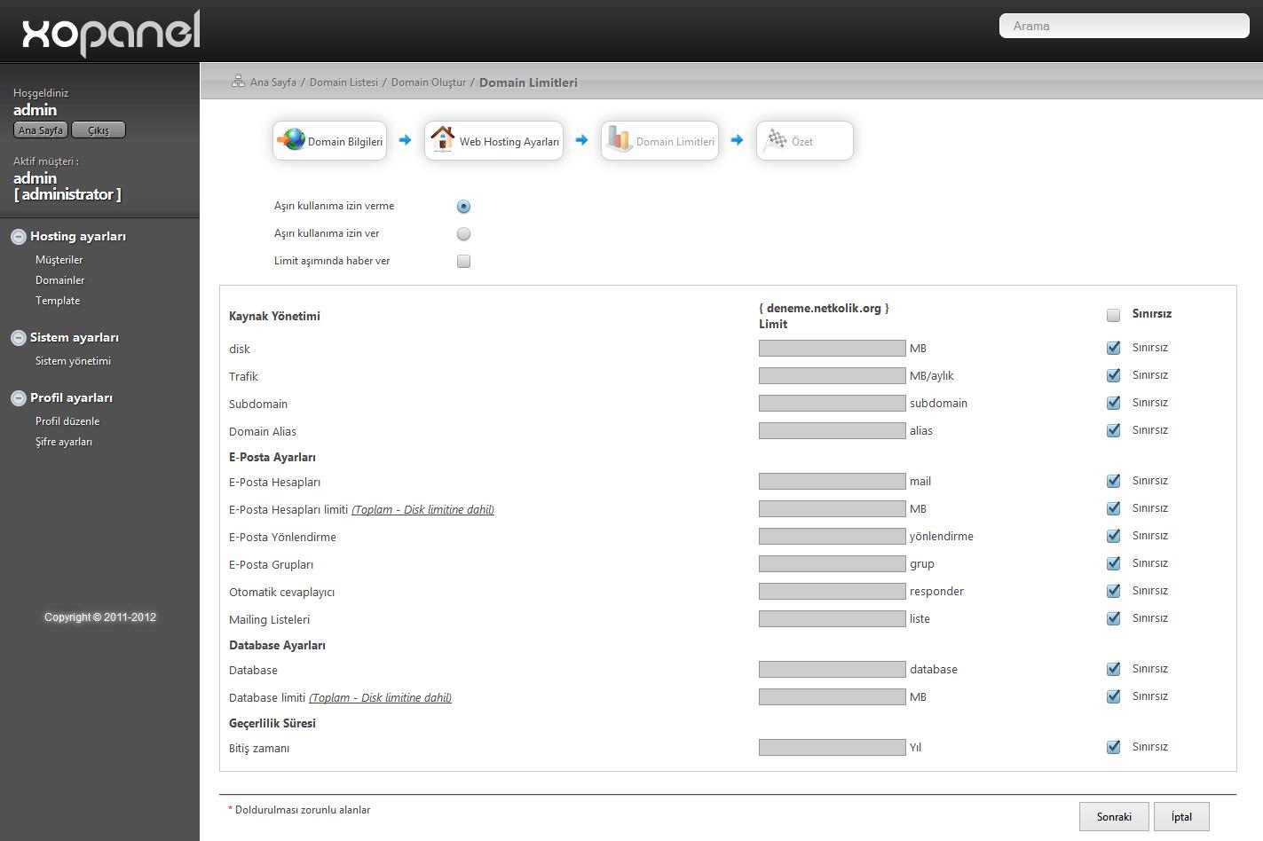 XOPanel Domain Oluşturma Limitler