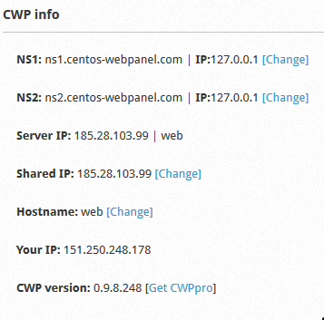 CWP Nameserver Settings