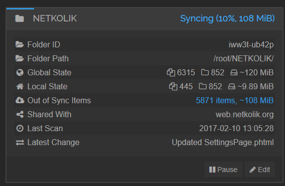 Syncthing Syncing