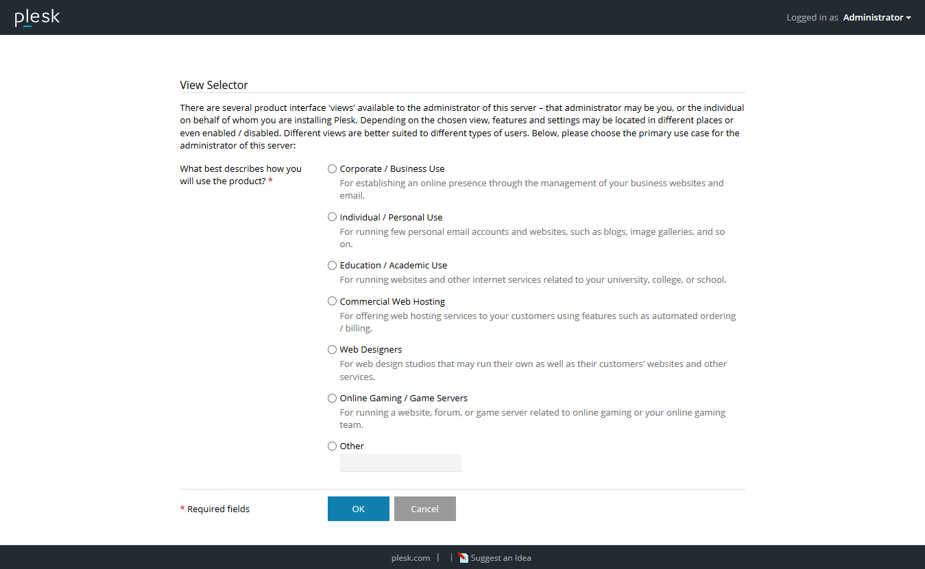 Plesk Onyx Usage Type