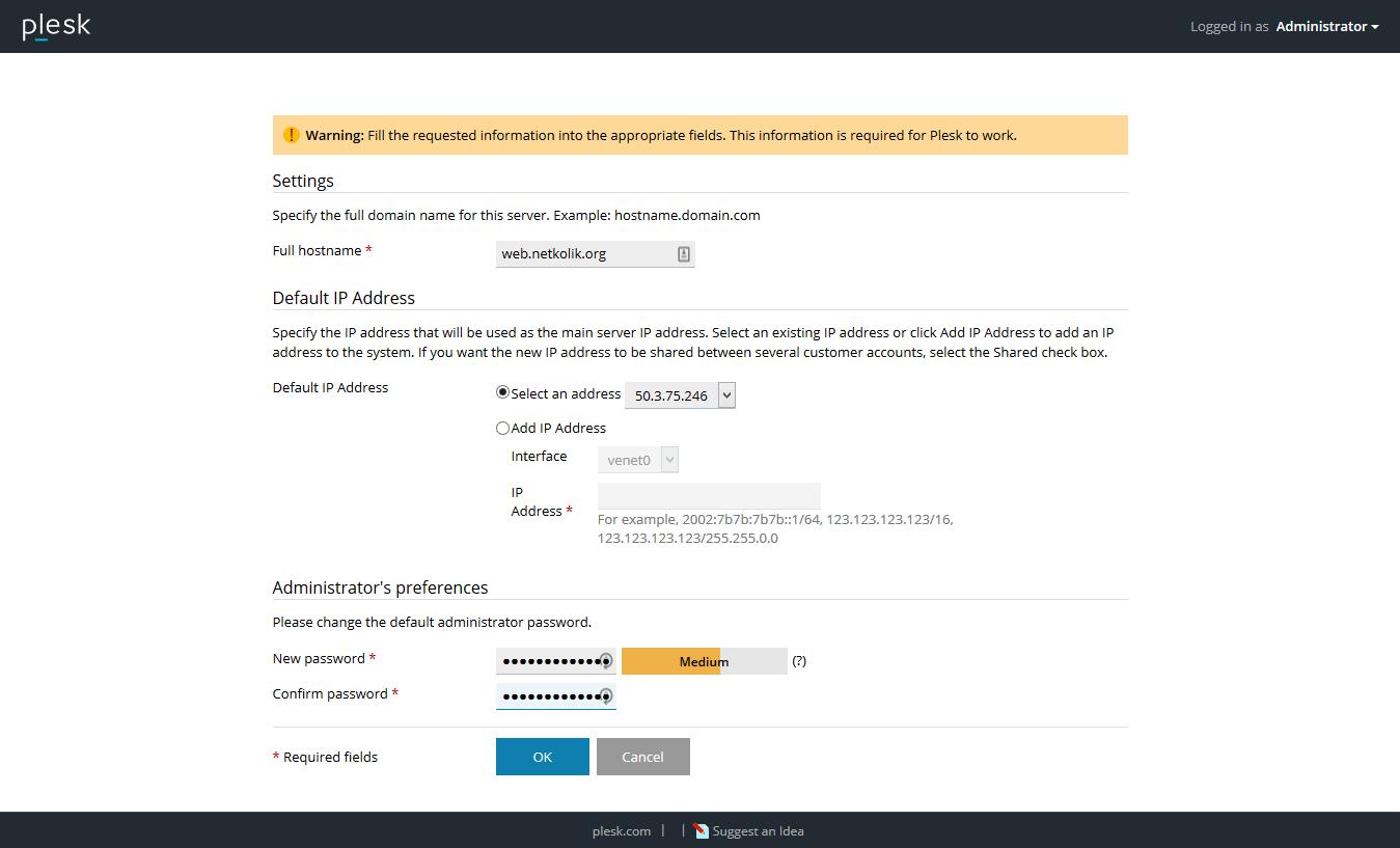 Plesk Onyx Server Settings