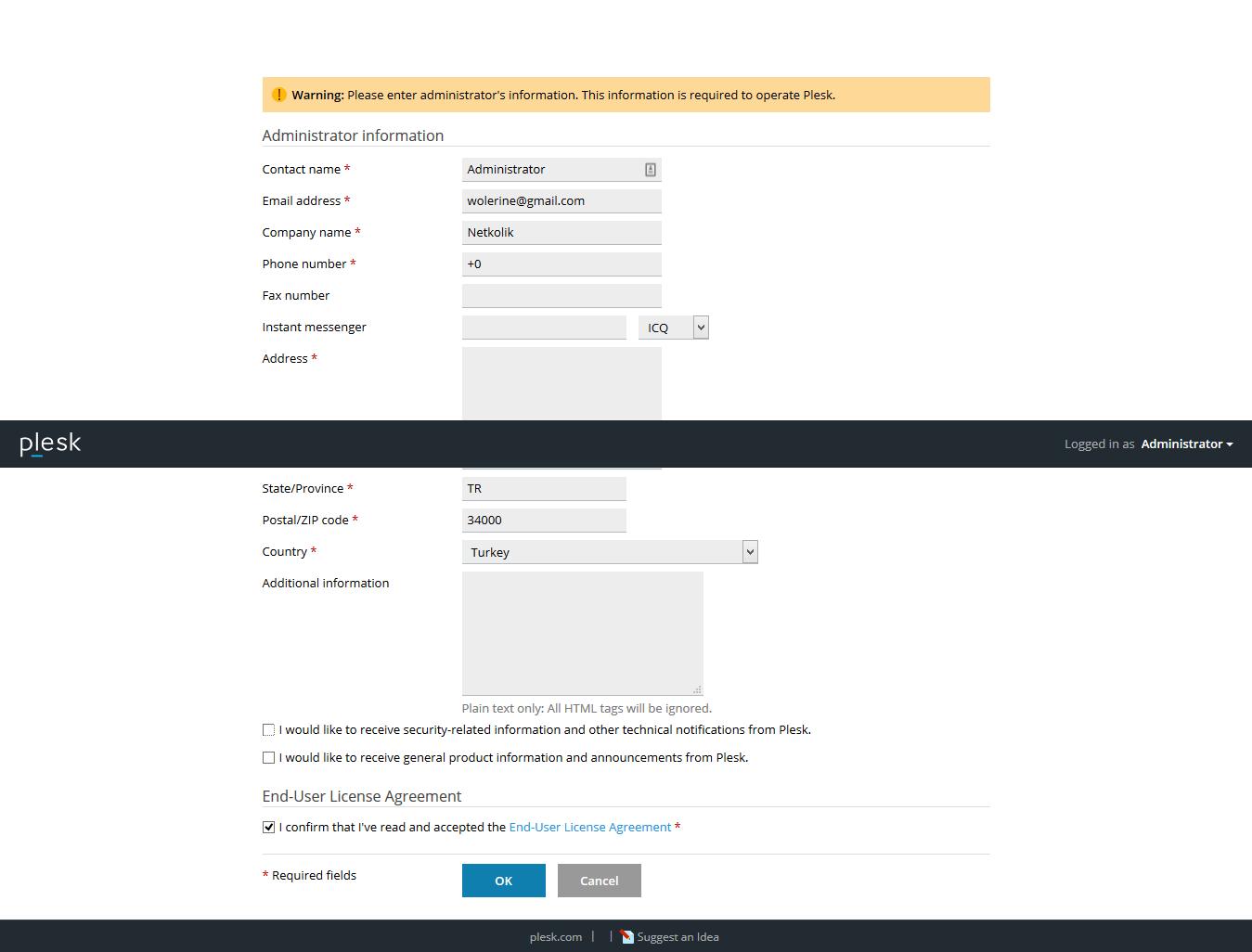 Plesk Onyx Admin Information